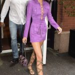 Kendall Jenner in a Short Lilac Dress