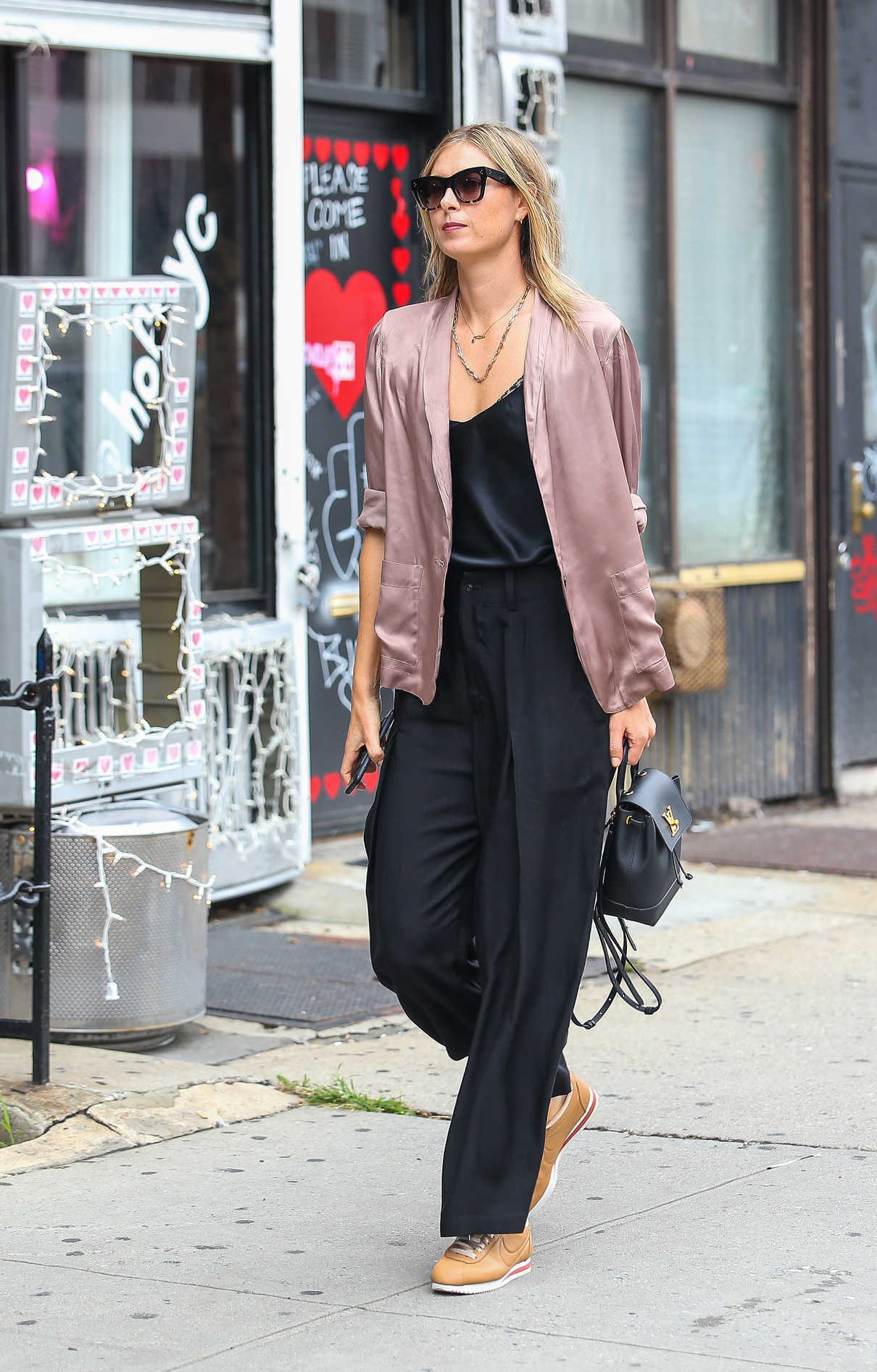 buy popular f7252 97d36 Maria Sharapova in a Nike Cortez Sneakers Was Seen Out in ...