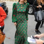 Olivia Wilde in a Long Floral Green Dress