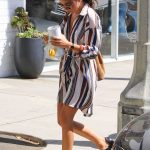 Sarah Hyland in a Striped Dress