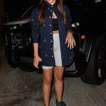 Tinashe in a Gray Spandex Shorts