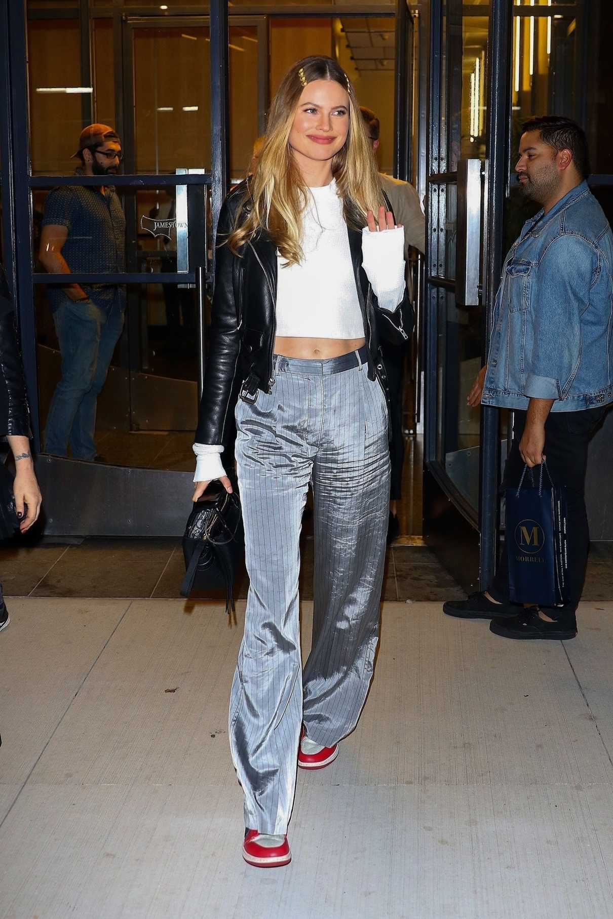 Behati Prinsloo in a Gray Striped Trousers