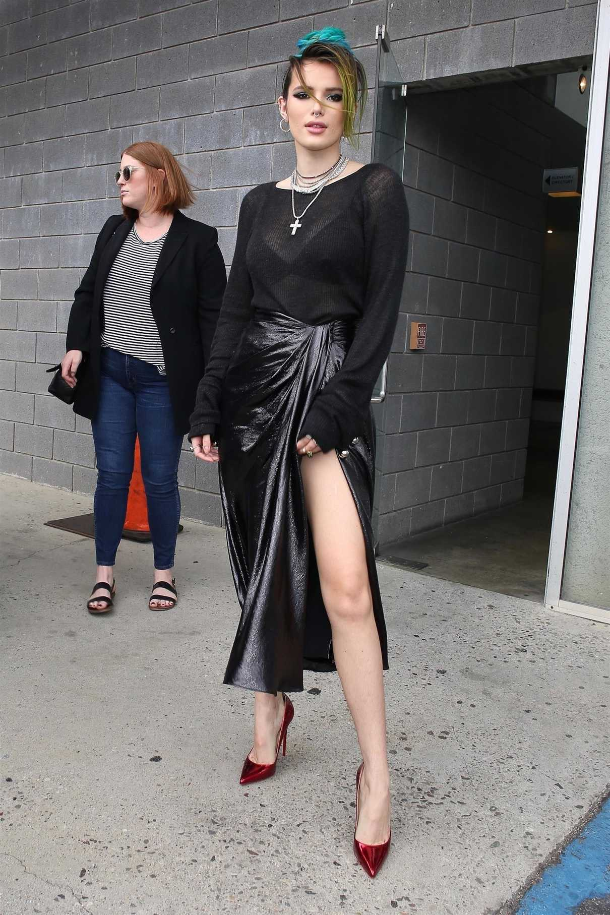 Bella Thorne in a Long Black Skirt