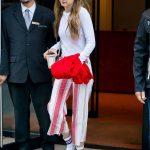 Gigi Hadid in a Striped Trousers
