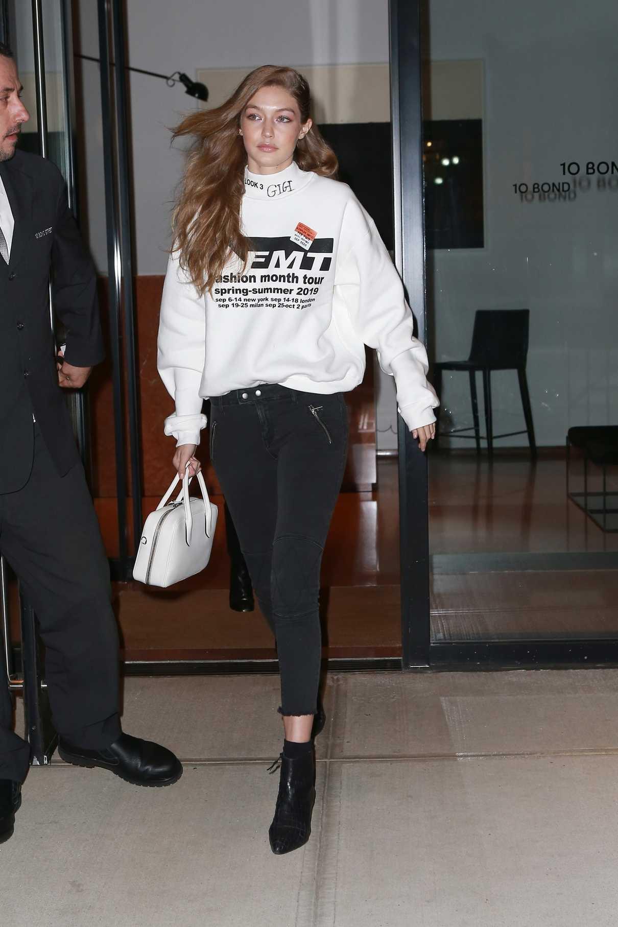 Gigi Hadid in a White Sweatshirt