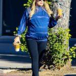 Hilary Duff in a Blue Sweatshirt