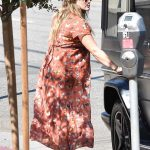 Hilary Duff in a Long Floral Dress