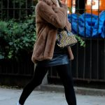 Irina Shayk in a Short Brown Fur Coat