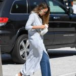 Jessica Alba in a Light Gray Cardigan