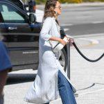 Jessica Alba in a Light Gray Cardigan