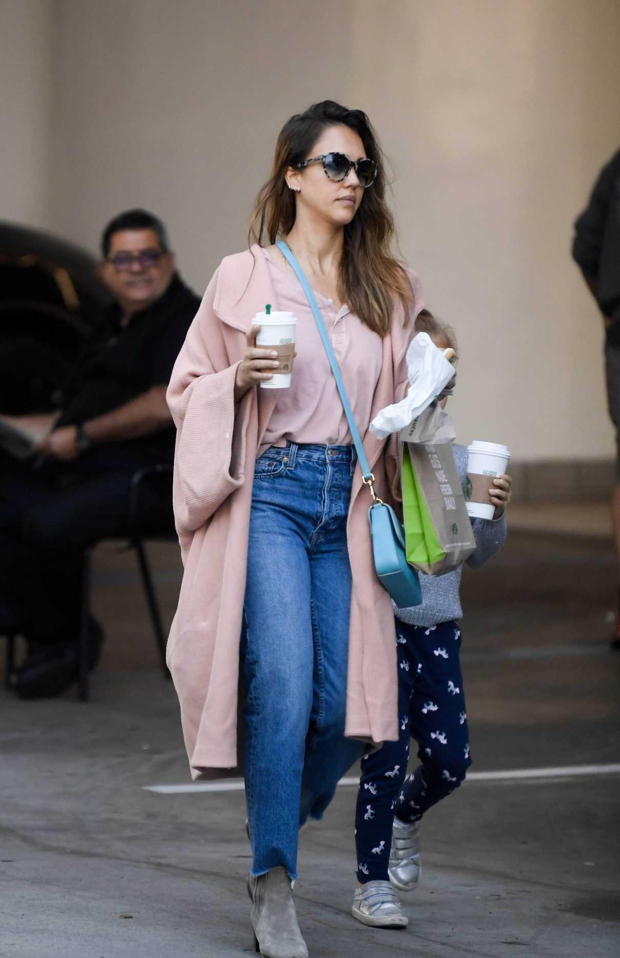 Jessica Alba in a Pink Coat