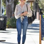 Julianne Hough in a White Floral Blouse