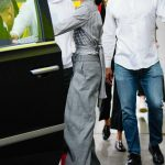 Kendall Jenner in a Gray Trousers