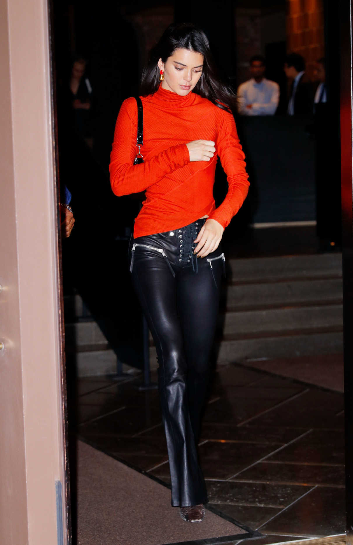 Kendall Jenner in a Red Turtleneck