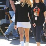 Margot Robbie in a Short White Skirt on the Set of Once Upon a Time in Hollywood in Los Angeles 10/14/2018