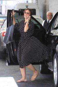 Minka Kelly in a Black Polka Dot Dress