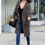 Sarah Hyland in a Leopard Print Coat