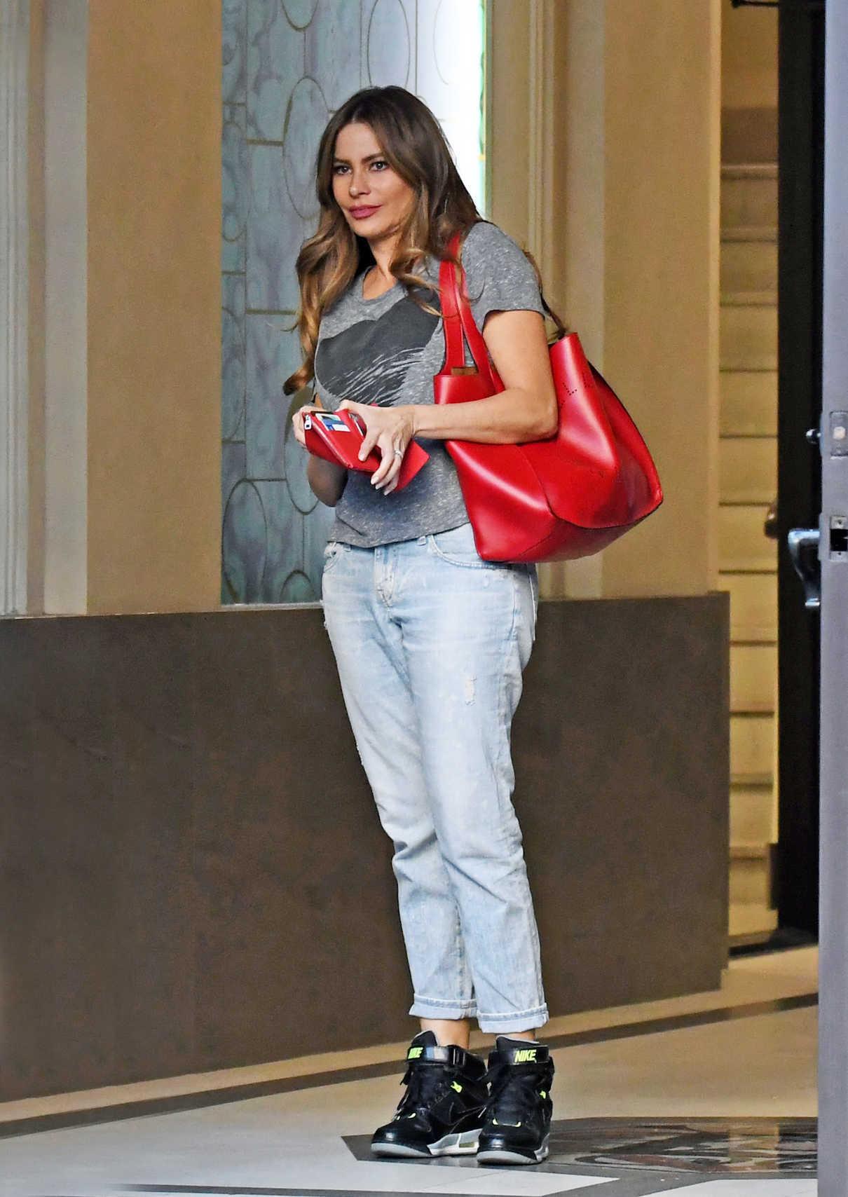 Sofia Vergara in a Gray T-Shirt