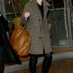 Cate Blanchett in a Light Brown Plaid Coat Leaves Soho House in London 11/22/2018