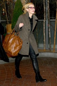 Cate Blanchett in a Light Brown Plaid Coat