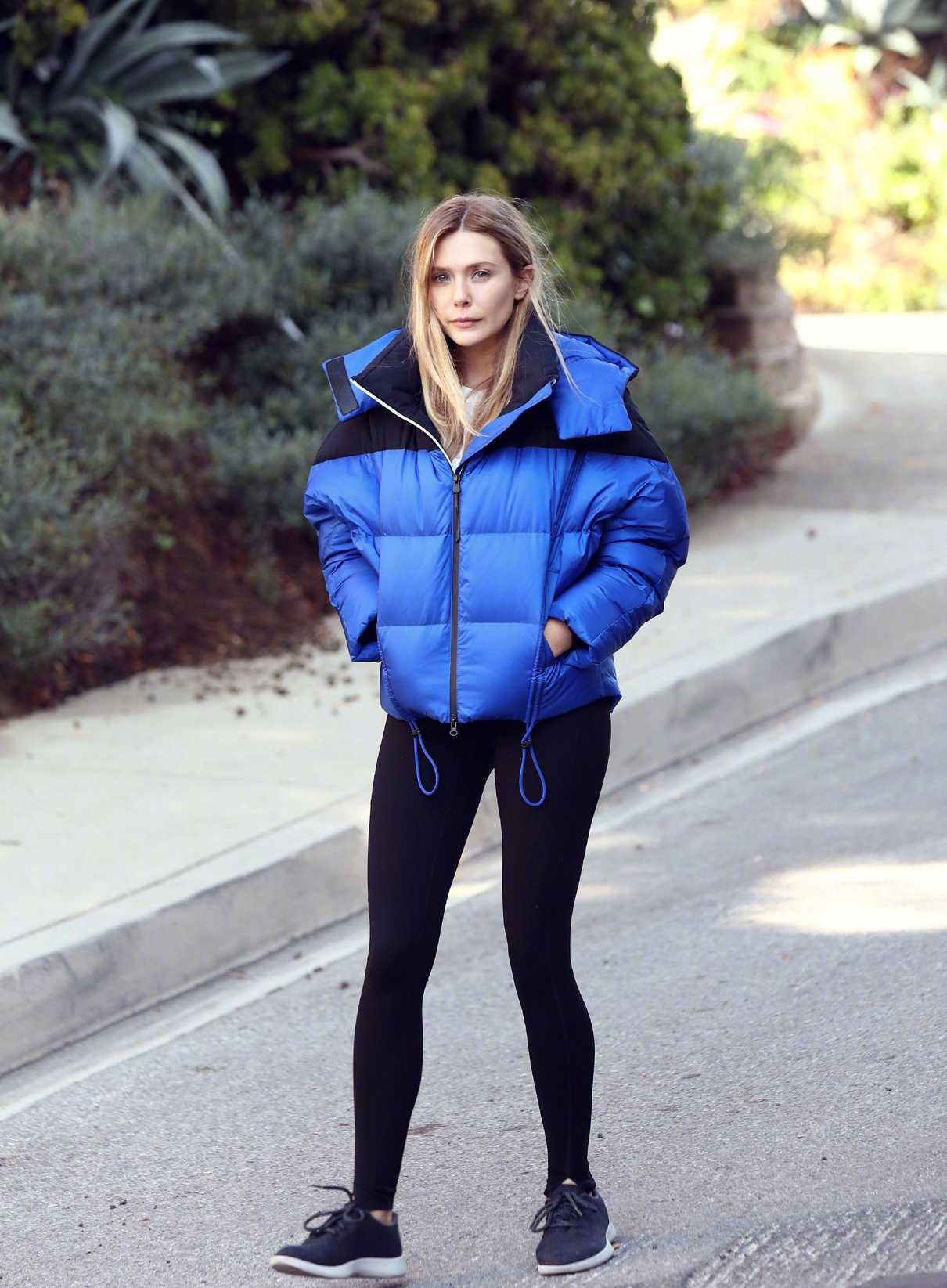 Elizabeth Olsen in a Blue Jacket