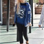 Holly Madison in a Black Leggings