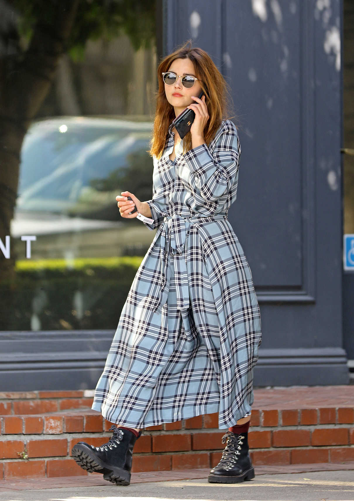 Jenna Coleman in a Gray Oversized Plaid Dress