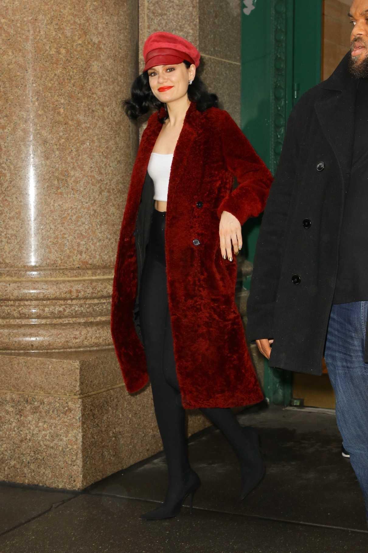 Jessie J in a Red Fur Coat