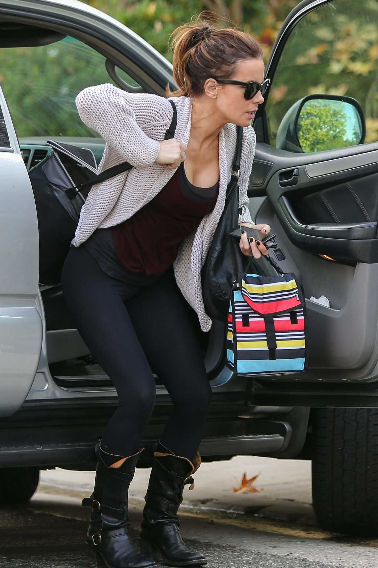 Kate Beckinsale in a Black Leggings Was Seen