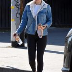 Kate Mara in a Blue Denim Jacket