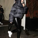 Kylie Jenner in a Black Down-Padded Coat