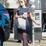 Lea Michele in a Black Polka Dot Dress
