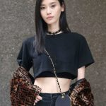Ming Xi in a Black Cropped T-Shirt