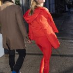 Nina Agdal in a Red Leggings