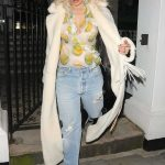Rita Ora in a Beige Fur Coat