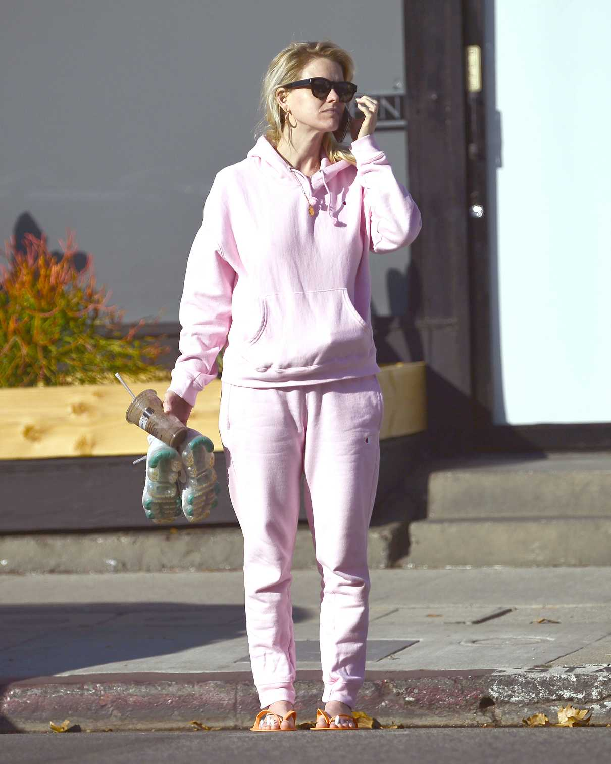 Alice Eve in a Pink Jogging Suit