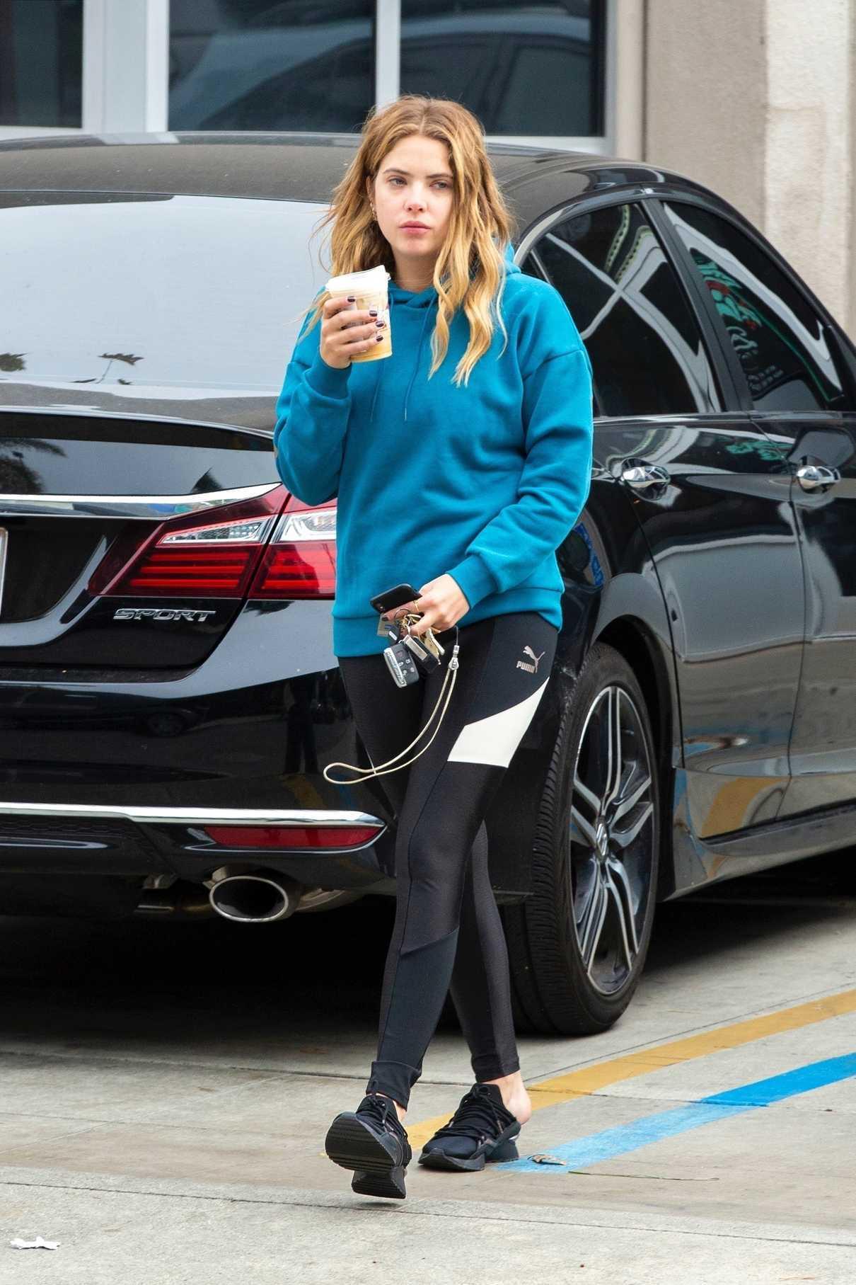 Ashley Benson in a Blue Hoody