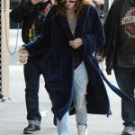 Bella Thorne in a Dark Blue Bathrobe