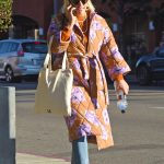 Busy Philipps in an Orange Floral Coat
