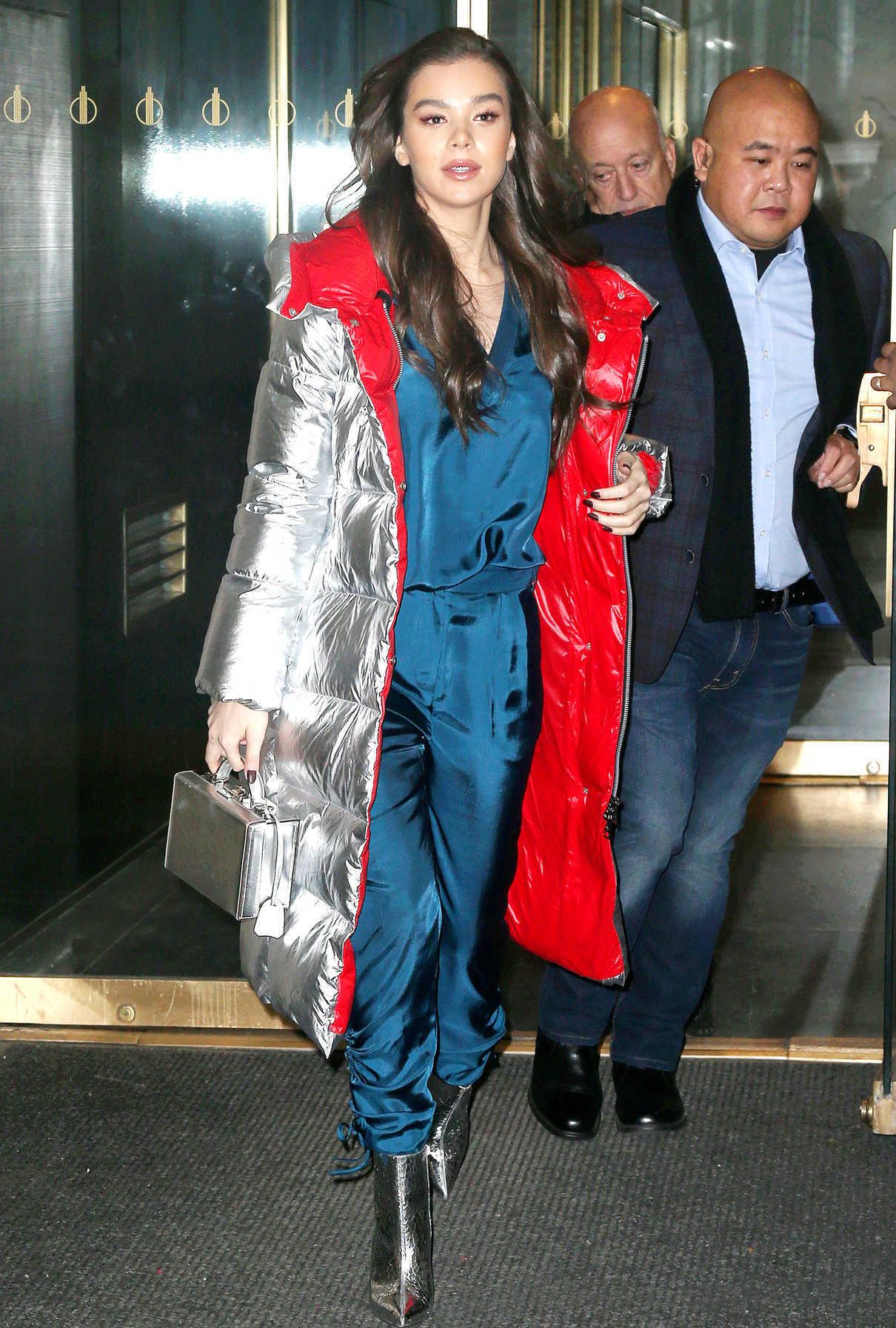 Hailee Steinfeld in a Silver Puffer Coat
