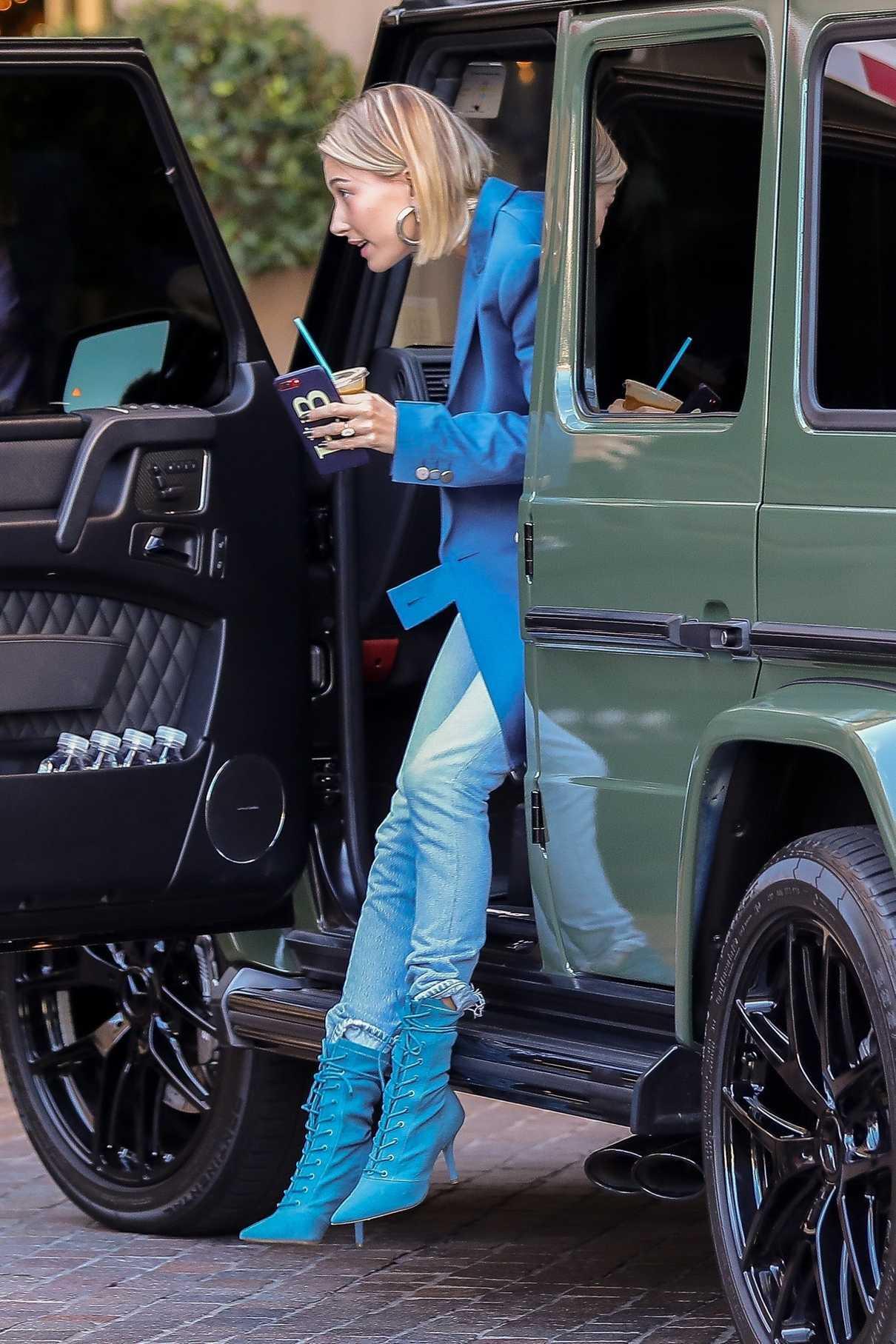 Hailey Baldwin in a Blue Blazer