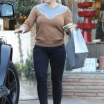 Hilary Duff in a Beige Sweater