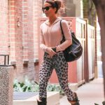 Kate Beckinsale in a Leopard Print Leggings