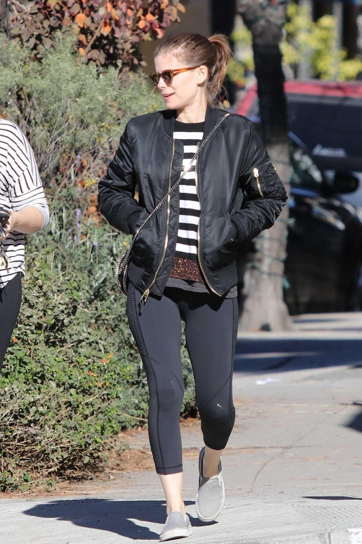 Kate Mara in a Black Bomber Jacket