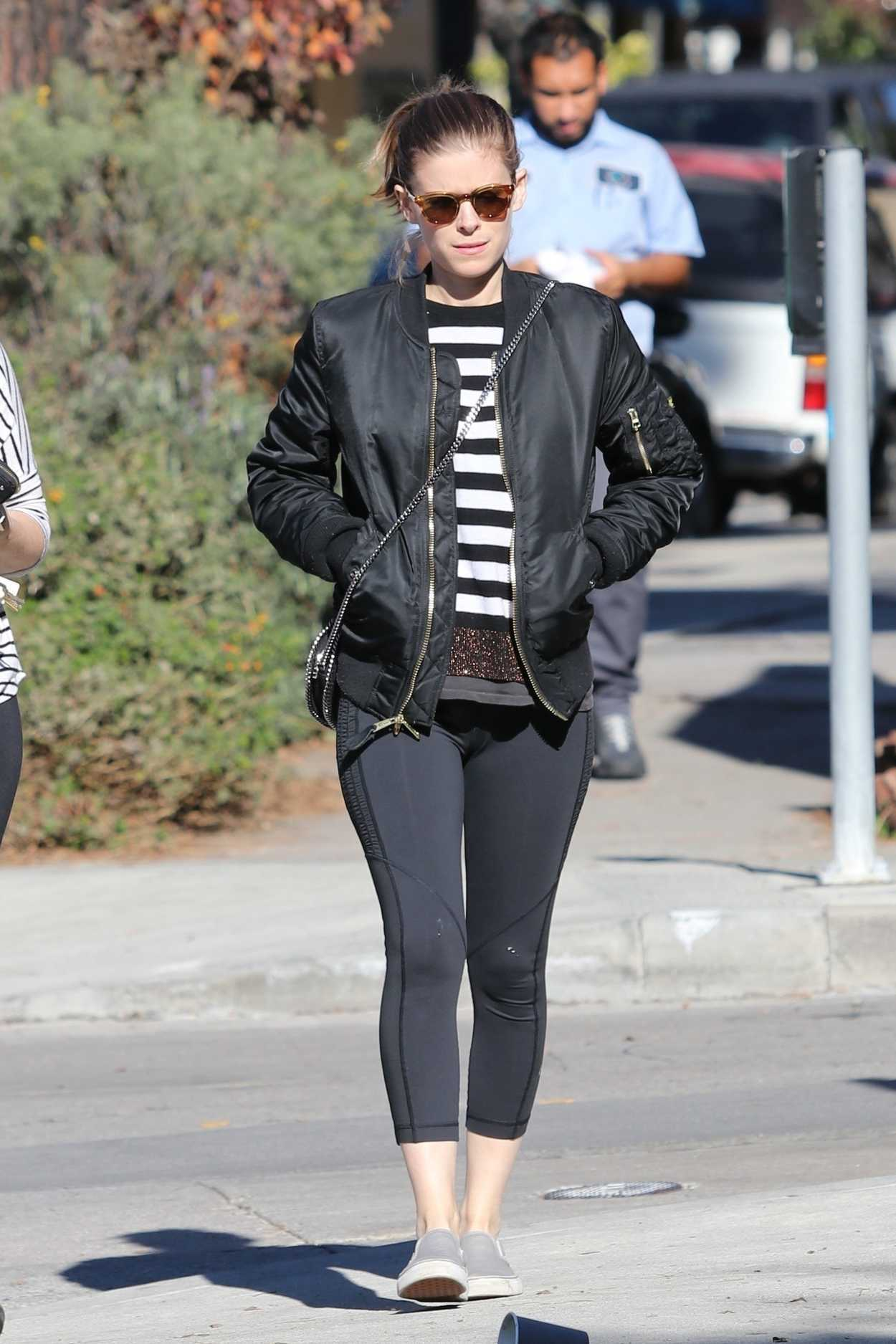 Kate Mara in a Black Bomber Jacket