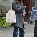 Keira Knightley in a Gray Coat