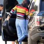Kendall Jenner in a Striped Rainbow Sweater