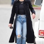 Lucy Hale in a Black Denim Trench Coat