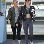 Lucy Hale in a Gray Leggings