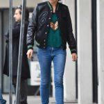 Mila Kunis in a Green Festive Sequin Sweater